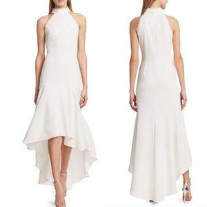 ML MONIQUE LHUILLIER White Scalloped Hi-Lo Gown